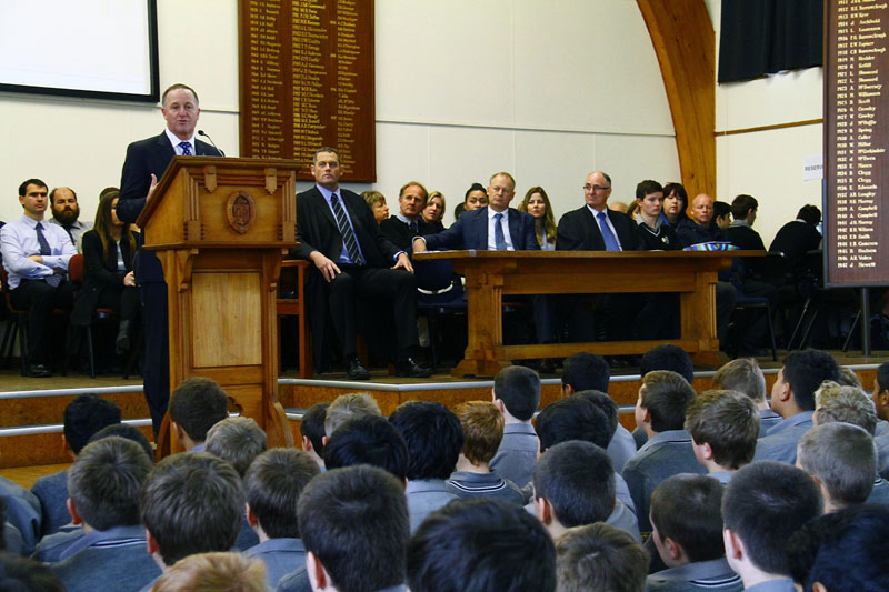 NZ Prime Minister John Key visit to PNBHS  Image by Gary Rodgers / Magnum Images