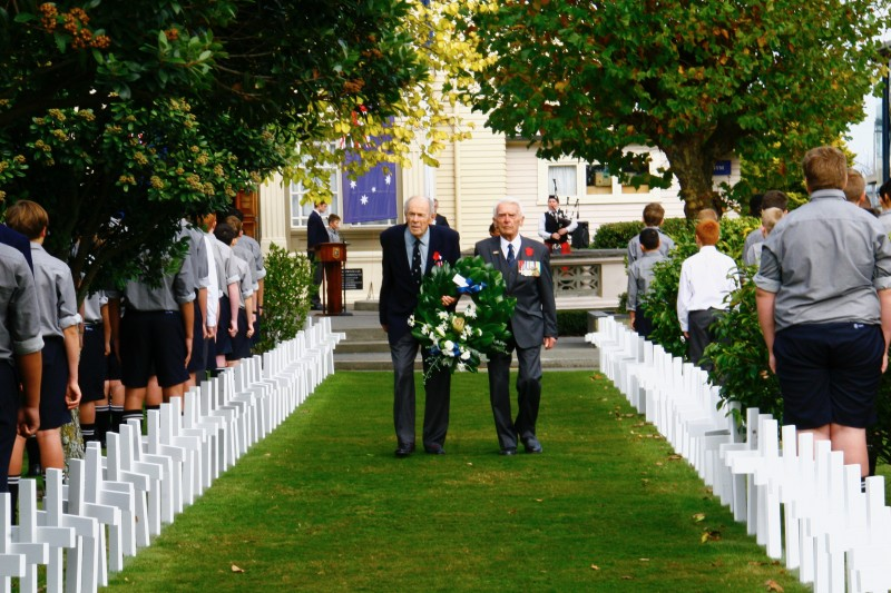 From left to right: Old Boys Ron Eaton and Allan Cull at PNBHS ANZAC Service 2017
